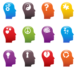 Emotional Intelligence Skills - Image of a human head in different colors and with different symbols.